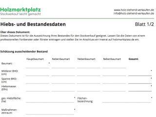 Vorschaubild: Hiebs- und Bestandesdatenblatt